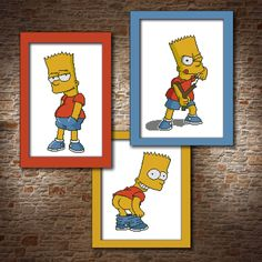 Simpsons CROSS STITCH PATTERN Set 3 pattern Bully boy Cute gift ideas Bart simpson art Boy room decor Made with fun kids decor diy gift her by MumlaXstitch on Etsy https://www.etsy.com/listing/539702348/simpsons-cross-stitch-pattern-set-3