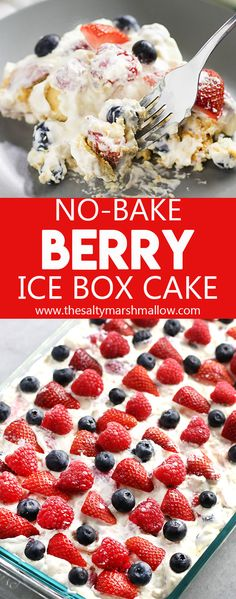 No Bake Berry Ice Box Cake: This icebox cake is a no bake, cool and creamy summer dessert that's an old fashioned favorite! Easy to make and full of strawberries, blueberries, and raspberries with creamy pudding layers and graham crackers OR nilla wafers! Dessert Party, Oreo Dessert, Brownie Desserts, Desserts Rafraîchissants, 4th Of July Desserts, Blueberry Desserts, Desserts For A Crowd, Easy No Bake Desserts, Birthday Desserts