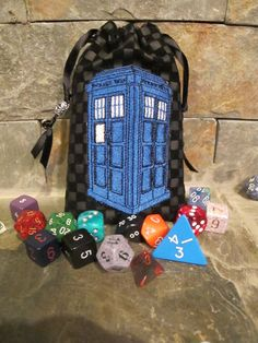 Dr Who TARDIS dice bag by oneandonlycouture on Etsy, $20.00