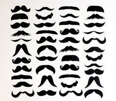 mustache templates for photobooth- Couldn't help it. She needs a new moustache Moustaches, Fiesta Party, Mustache Template, Hipster Mustache, Moustache Party, Diy Photo Booth Props, Creation Couture, Silhouette Cameo, Stencils