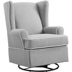 Glider: Eddie Bauer Upholsterd Wingback Swivel Glider - Gray ($300) ❤ liked on Polyvore featuring home, furniture, chairs, accent chairs, grey glider, wingback accent chair, wing back chairs, swivel rocking chair and swivel rockers