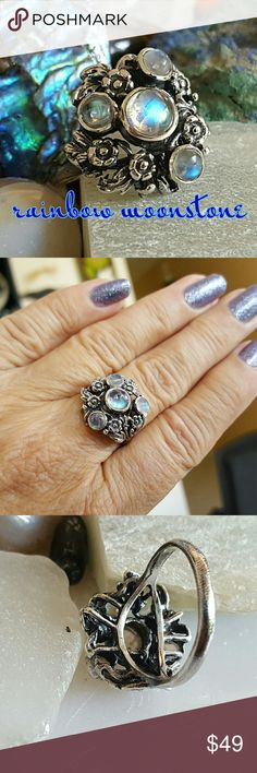 Artisan Rainbow Moonstone Ring Sterling Earth Art hand crafted artisan ring in solid sterling silver setting hallmarked 925. This is a beautiful antiqued floral and leave setting with four gorgeous fiery moonstone cabochons! NEW! ALWAYS WEAR ART! Earth Art hand crafted artisan Jewelry Rings