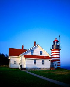 West Quoddy Head Light, Lubec, Maine Coast - what a beautiful and peaceful place this is - loved it. Peaceful Places, Wonderful Places, Beautiful Places, Coastal Living, Coastal Style, Sea To Shining Sea, Maine New England, Maine Lighthouses, Lighthouse Pictures