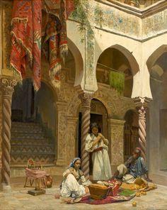Léon Girardet  Intérieur d'un Riad
