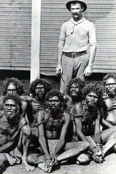 This picture is taken in the early 1900s at the Wyndham prison. Wyndam is the oldest and northernmost town in the Kimberley region of Western Australia. It was established in 1886 as a result of a gold rush at Halls Creek. However the circumstances and the story behind this picture remain unknown. The Aboriginals could have been arrested under the various local laws passed that forbid them from entering or being within a certain distance of named towns.