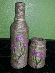 Hemp Wrapped Wine Bottle | FaveCrafts.com