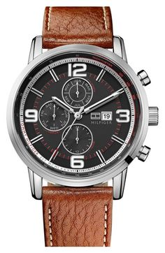 Free shipping and returns on Tommy Hilfiger Round Multifunction Leather Strap Watch, 44mm at Nordstrom.com. Day, date and 24-hour time display within a tachymeter bezel on a handsome weekend watch finished with a smooth, topstitched leather strap.