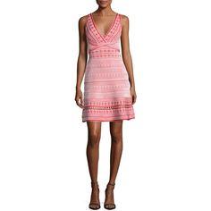 Herve Leger Sleeveless Jacquard Dress (84,620 PHP) ❤ liked on Polyvore featuring dresses, red, sleeveless v neck dress, herve leger dress, v-neck dresses, scallop trim dress and jacquard dress