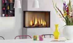 Contemporary Gas Fireplaces | Contemporary corner fireplace (gas closed hearth) GLOBAL CORNER M DRU