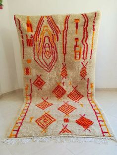 Moroccan Rug Berber Handmade Wool Carpet 5x9 Beni Ourain, Tribal Azilal Area Rug #Handmade #Tribal Carpet Sale, Wool Carpet, Beni Ourain, Moroccan, Atlas Mountains Morocco, Bohemian Rug, Area Rugs, Carpet Cleaning Company, Weaving Process