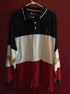 3d51121d Vintage 90's Chaps Ralph Lauren Long sleeve Polo Color Block Red Blue White  | eBay Chaps