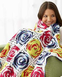 This circle-patterned throw has the effect of tie-dyed circles when crocheted with Bernat Handicrafter Cotton. (Bernat.com) ༺✿ƬⱤღ✿༻