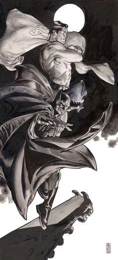 World's Finest by JG Jones, in Steve Coulson's * Highlights from my Collection * Comic Art Gallery Room I Am Batman, Batman Vs Superman, Batman Art, Batman Logo, Dc Heroes, Comic Book Heroes, Comic Books Art, Dc Comics, Comics