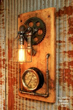 about Steampunk Lamp Industrial Machine Age Steam Gauge Light Gear Boiler Steampunk Lamp Industrial Machine Age Steam Gauge Light Train Loft Wall Sconce in Collectibles, Lamps, Lighting, Lamps: Electric Lampe Steampunk, Loft Wall, Lampe Decoration, Vintage Industrial Furniture, Pipe Lamp, Barn Wood, Wood Wood, Sconces, Machine Age