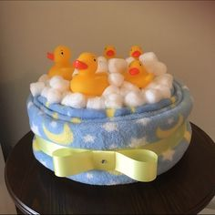 Nicole Stein Designs Other - Rubber ducky diaper cake/bubble bath Regalo Baby Shower, Baby Shower Baskets, Rubber Ducky Baby Shower, Cute Baby Shower Gifts, Baby Shower Crafts, Baby Shower Decorations For Boys, Baby Shower Diapers, Baby Shower Fun, Baby Nappy Cakes