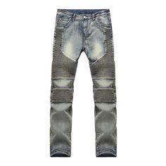 27.98$  Watch here - Streetwear Mens Biker Jeans Pants Brand Designer Light Blue Ripped Moto Denim Joggers Man Pleated Motorcycle denim trousers  #SHOPPING