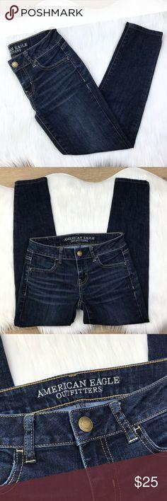 "[AEO] Women's Jegging Crop Jeans Dark Wash size 0 American Eagle Outfitters Women's Jegging Crop Jeans Dark Wash size 0. Low rise. Excellent pre-owned condition. LB160B076  Waist: 28"" Hip: 34"" Inseam: 26"" Rise: 7.5"" Leg opening: 10"" American Eagle Outfitters Jeans Skinny"