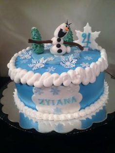 """Disney Frozen movie 9"""" french vanilla cake with buttercream frosting and fondant """"Olaf"""" and accents!"""