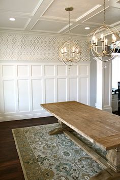 Filigree looking wall paper Dining Room -Trim Work and my favorite light fixtures
