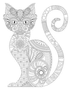 Cat Zentangle Coloring Pages Colouring Adult Detailed Advanced Line Art Black and White Cat Coloring Page, Free Adult Coloring Pages, Doodle Coloring, Colouring Pics, Printable Coloring Pages, Free Coloring, Coloring Sheets, Coloring Books, Mandalas Painting