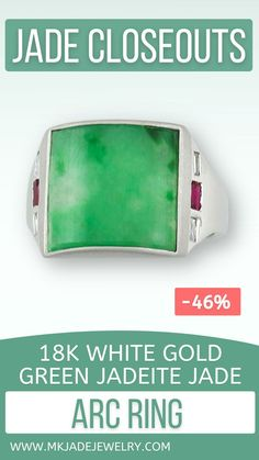 Green jade curved arc in satin finished 18K white gold bezel in 18K white gold ring with baguette diamonds & baguette rubies on each side. Slight flaw with one ruby bezel. Finger size 7.25. Use discount code INSTA10JORDAN at checkout!