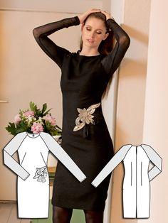 Sheer Sleeve Dress Burda Nov 2013 #128 Pattern: http://www.burdastyle.com/pattern_store/patterns/sheer-sleeve-dress-112013 #LBD