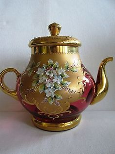 VINTAGE CZECH/BOHEMIAN TEAPOT PINK GLASS HAND-PAINTED FLOWERS