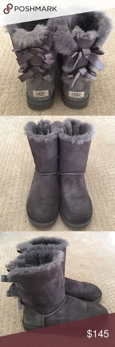 Bailey Bow II UGG Boots in Grey Bailey Bow II Uggs in excellent used condition. I wore them a couple times and decided they just weren't my style. They've been treated with a waterproof spray. Bottom have no wear. Fur is still fluffy. Size 9. Doesn't come with the box they came in. NO TRADES! UGG Shoes Winter & Rain Boots