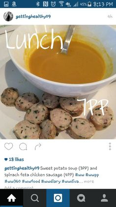 Sweet potato soup and sausages