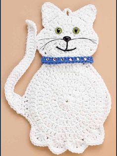 Snowball the cat pattern de Marianne Bruneau - Nese - . - Snowball the cat pattern de Marianne Bruneau – Nese – # Patrón de gato # Mariann - Crochet Applique Patterns Free, Cat Applique, Crochet Cat Pattern, Crochet Motif, Crochet Stitches, Cross Stitches, Loom Patterns, Knitting Patterns, Crochet Gifts