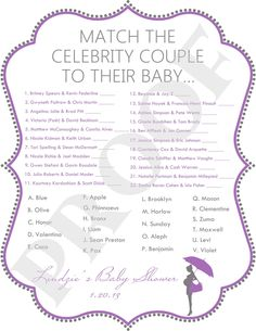 Purple & Gray Celebrity Baby Shower Game (JPEG File). $10.00, via Etsy.