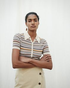 An ideal paring piece for the Masai multicolor knit skirt, the Quinoa top offers a lightweight knit material with stretchy capabilities and a sand toned collar. Wear yours with the matching skirt, or with a pair of blue denim jeans for a casual look. Western Jeans, Knit Skirt, Blue Denim Jeans, Striped Knit, Casual Looks, Rib Knit, Polo Shirt, Mini Skirts, Men Casual