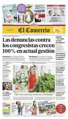 """¡Buen #domingo! Esta es #nuestraportada de hoy: """"Las denuncias contra los #congresistas crecen 100% en la actual gestión"""". Mira la edición impresa ► http://elcomercio.peruquiosco.pe/"""