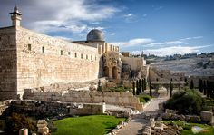 In this shot of the southwestern corner of the Temple Mount, the Al Aqsa mosque is visible and the Mount of Olives in the distance.