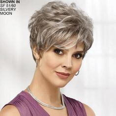 Shop our online store for gray hair wigs for women. These natural hair and synthetic wigs fit mini petite, petite, average and large head sizes. Wig styles include wavy, straight and curly hair in a variety of lengths and shades of grey. Short Hair Styles For Round Faces, Short Hairstyles For Thick Hair, Haircuts For Fine Hair, Fringe Hairstyles, Trending Hairstyles, Short Hair Cuts For Women, Wavy Hair, Elegant Short Hair, Short Grey Hair