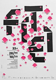 "Poster for ""Festival Internacional de Teatro des Expressão Ibérica"", 2010 - A combination of bold typo and well distributed holes in the surface, make this example a real eye-catcher. by maricela Graphic Design Posters, Graphic Design Typography, Graphic Design Illustration, Graphic Design Inspiration, Poster Designs, Poster Layout, Mises En Page Design Graphique, Inspiration Typographie, Schrift Design"