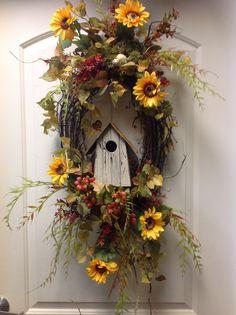 Fall bird house wreath Simple but so pretty