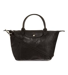 LONGCHAMP Le Pilage Cuir small handbag (Black) New black leather version. its a good one version from longchamp. i have one, exactly like this. im so comfortable for wearing this bag anywhere. buy it. no regrets tho.