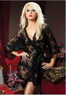e958e5bef0d Plus Size Black Delicate Babydoll Lace Robe Lingerie Set Gown UK 14 16 18