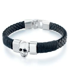 Pugster Black Twist-Lint Chain Woven Leather Jute Rope Silver Metal Halloween Skull Bracelet Pugster. $10.79. Color: Black, silver tone. Metal: Metal, leather. Weight (gram): 20.2. Size (mm): 230*19.88*12.27