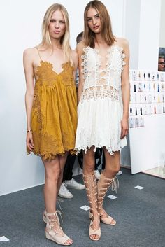 Lace dress, mustard yellow and lace up sandals @ Chloe