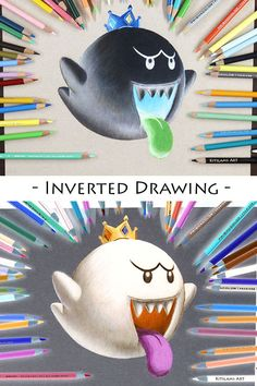 How to draw King Boo; it's my inverted drawing of King Boo. Really enjoy working on these opposite color drawings. Disney Drawings, Cartoon Drawings, Colorful Drawings, Cool Drawings, King Boo, Legend Of Zelda, Dream Drawing, Super Mario Art, African Art Paintings
