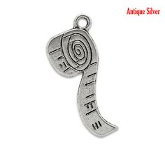 6  Silver Tone TAPE MEASURE Seamstress Charms by SmartParts, $1.89