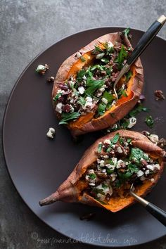Stuffed Baked Sweet Potatoes with Feta, Olives and Sun-dried Tomato