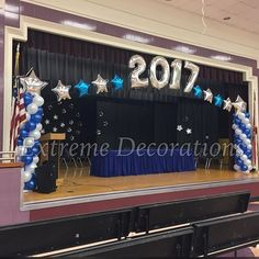 5th Grade Graduation, Graduation Party Themes, Graduation Balloons, Graduation Banner, Kindergarten Graduation, Graduation Decorations, School Decorations, School Counseling Office, Pinning Ceremony