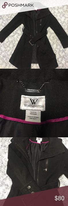 Worthington Peacoat Super cute black worthington peacoat! Perfect for this upcoming cold weather! Sized petite but would definitely fit a regular small! Has belt for around the waist Worthington Jackets & Coats Pea Coats