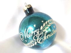 Large Blue Vintage Shiny Brite Stenciled Merry Christmas Ornament