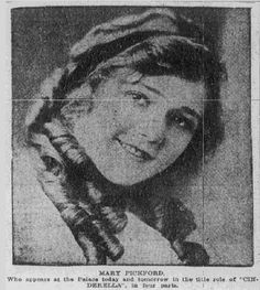 """Picture of actress Mary Pickford, published in the Tulsa World newspaper (Tulsa, Oklahoma), 7 February 1915. Read more on the GenealogyBank blog: """"Researching Kids with Vintage Newspaper Ads of 100 Years Ago."""" http://blog.genealogybank.com/researching-kids-with-vintage-newspaper-ads-of-100-years-ago.html"""