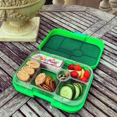 @Yumbox Lunch Lunch Today's #Yumbox lunch with ham and cheddar cheese tortilla wraps, cucumber, apple, strawberries, strawberry yogurt with mini smarties, roasted soy beans and mini pizza crackers.  The Yumbox will be available from late June via www.yumbox-uk.co.uk