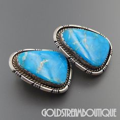 NATIVE AMERICAN RAY FIERRO NAVAJO STERLING SILVER MORENCI TURQUOISE STATEMENT POST EARRINGS
